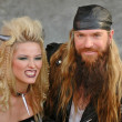 Kiera Chaplin and Zakk Wylde On The Set Of Black Label Societys New Music Video Suicide Messiah, Long Beach, CA 01-16-05 — Stock Photo