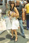 Kelly Hu and her dog Mu Shu — Stock Photo