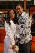 Leah Remini and husband Angelo — Stock Photo