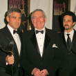 George Clooney with Dan Rather and Grant Heslov in the press room at the 2006 Writers Guild Awards. Hollywood Palladium, Hollywood, CA. 02-04-06 - Stock Photo