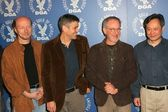 Paul Haggis and George Clooney with Steven Spielberg and Ang Lee — Stock Photo
