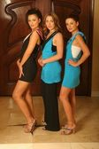 Ksenia Linkova, Abi Ferrin and Katia Jones wearing Ferrin's designs — Stock Photo