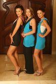 Ksenia Linkova, Abi Ferrin and Katia Jones wearing Ferrin's designs — Stock Photo
