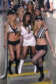 Traci Bingham and referees — Stock Photo