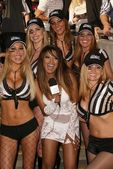 Traci Bingham and the referees — Stock Photo