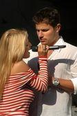 Jessica Simpson and Nick Lachey — Stock Photo