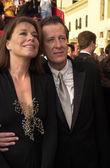 Geoffrey rush och hustru jane menelaos — Stockfoto