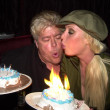 Christy Shakes and her birthday cake — Foto de Stock