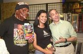 Lloyd Kaufman with fan Sierra and the Toxic Avenger — Stock Photo