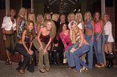 Hugh Hefner and his Girlfriends — Stock Photo