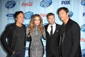 Keith Urban, Jennifer Lopez, Ryan Seacrest and Harry Connick Jr — Stock Photo