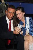 Alicia Arden and Obama Impersonator — Stock Photo