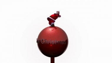 Santa surfs a red Bauble. Loop. — Stock Video