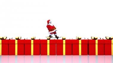 Santa on a Skateboard — Stock Video