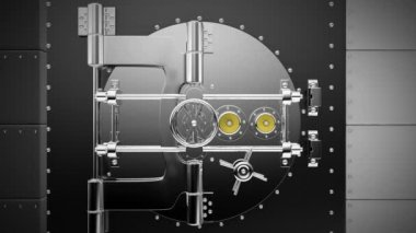 "Bank Vault opens to reveal laptop with ""Online Data"" — Stock Video"