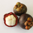 Tropical fruit Mangosteen isolated on white background - Stock Photo