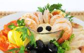 Shrimp, beautifully served . — Stock Photo