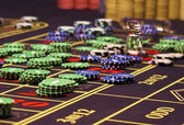 Colorful chips in casino . — Foto Stock