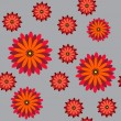 Seamless vector illustration of an orange-red flowers on a gray background. — Stok Vektör