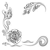 Vector drawing of a black outline flowers and leaves on a white background. — Stock Vector
