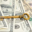 Bronze key from the old furniture in the background of dollar bills. — Stock Photo