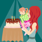 Little girl sitting at the mom's hands blowing candles on a birthday cake. — Stock Vector
