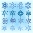 Set of different shape and color snowflakes on blurred background. — Stock Vector