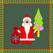 Santa with a bag of gifts and Christmas tree. — Stock Vector