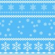 Seamless snowflakes background in rows and scattered on blue. — Stock Vector