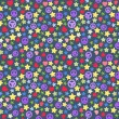 Seamless background of colorful stars pieces, pacifist, hearts on dark. — Vettoriali Stock