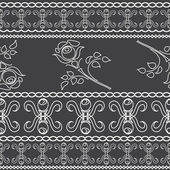 Seamless background of white lace strips on a dark background. — Stock Vector