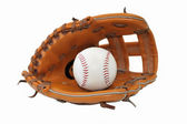 Baseball ball in glove on white background. — ストック写真