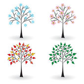 Tree in four seasons. — Stock Vector