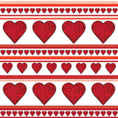 Background of red curly hearts in a row on white. — Stok Vektör