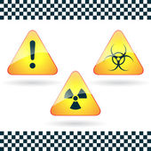 Signs-hazard, biohazard, radioactive danger.Vector. — Stock Vector