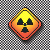 Radiation hazard warning sign on a square table on black and white background. — Stock Vector