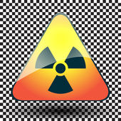 Radiation hazard warning sign on a triangular table on black and white background. — Stock Vector