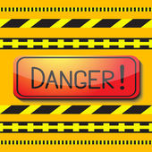 Sign saying danger and danger tape. — Stock Vector