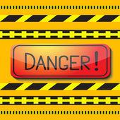 Sign saying danger and danger tape. — Stock Vector