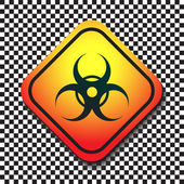 Biohazard warning sign on a square table on black and white background. — Stock Vector