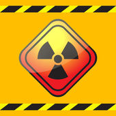 Radiation hazard warning sign on a square table on yellow background with warning ribbons. — Stock Vector