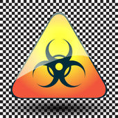 Biohazard warning sign on a triangular table on black and white background. — Stock Vector