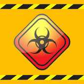 Biohazard warning sign on a square plate on a yellow background with warning tapes. — Stock Vector