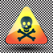 Warning sign of poison on a triangular table. — Stock Vector