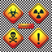 Warning labels - biohazard, radiation, poison, danger, and inscription-dangerous. — Stock Vector
