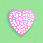 Pink paper heart with a pattern on a light green background. — Stock Vector
