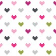Seamless pattern of colored hearts of small squares on a white background. — Stock Vector #42629037