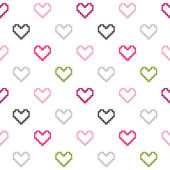 Seamless pattern of colored contour hearts isolated on white. — Stock Vector