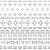 Seamless background of horizontal stripes of black and white whorls. — Stok Vektör