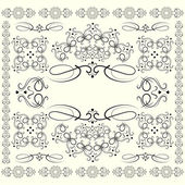 Set of vintage whorls as a frame. — Stockvector